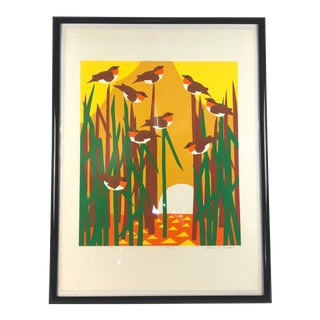 Vintage Modern Artist Print of Birds in the Reeds by Ann T. Cooper For Sale