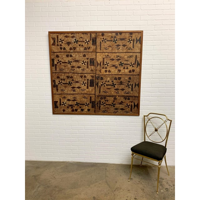Brown South Pacific Bark Cloth Design For Sale - Image 8 of 13