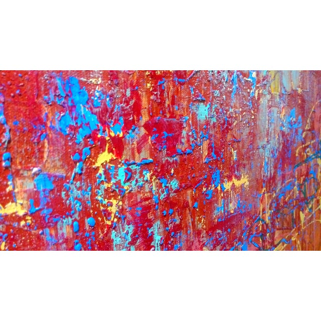 Abstract Expression Drip Action Cityscape Oil Painting - Image 5 of 9