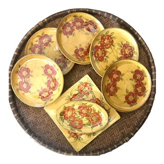 Late 20th Century T Comme Terre French Provence Hand Made Fleurs Rouges Plate - Set of 7 For Sale
