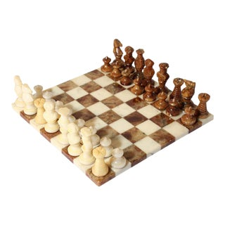 Vintage Italian Chess Board with Alabaster Carved Pieces For Sale