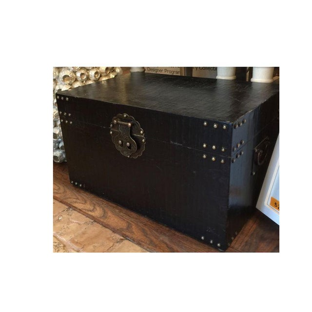 Asian Chinoiserie Black Traveler Trunk - Image 2 of 4