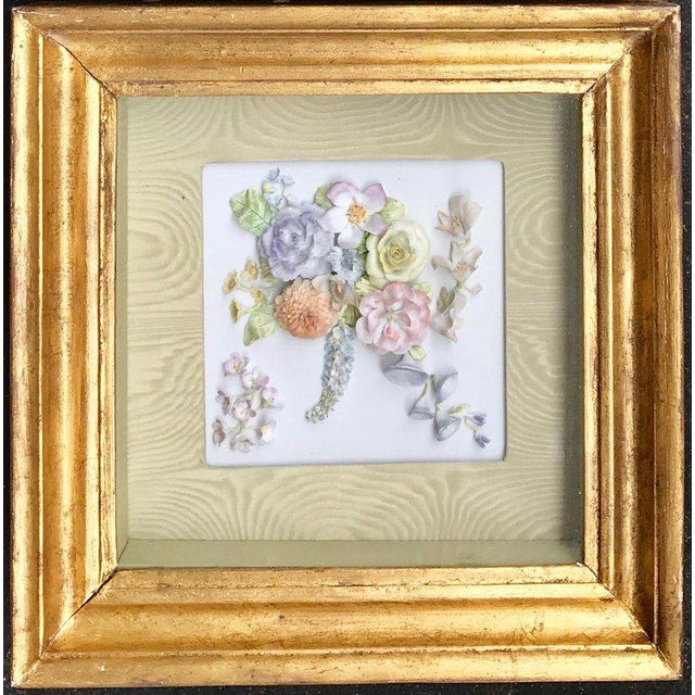 White 19th Century Bisque German Porcelain Floral Plaques in Shadow Boxes - a Pair For Sale - Image 8 of 12