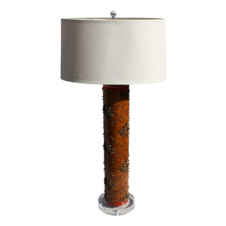 Antique Wallpaper Roller Lamp with Lucite Base For Sale
