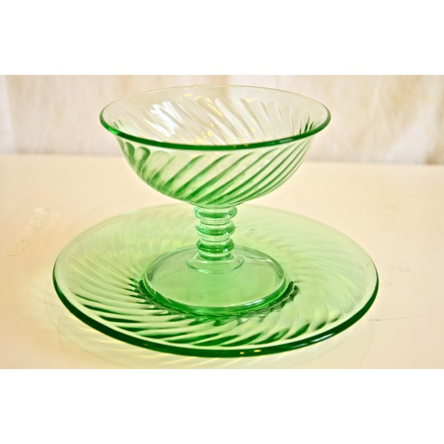 1940s Green Glass Coupe & Saucers - Set of 4 For Sale - Image 4 of 5