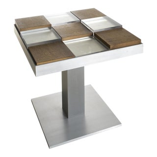 Custom Graphic Aluminum Side Table For Sale