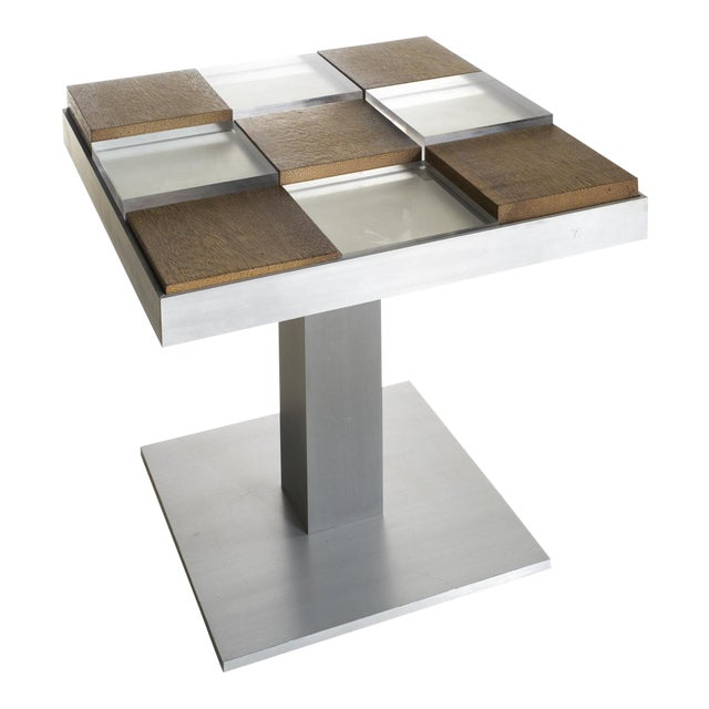 Custom Graphic Aluminum Side Table - Image 1 of 6