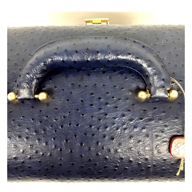 Vintage Ostrich Leather Jewelry Travel Case - Image 7 of 10