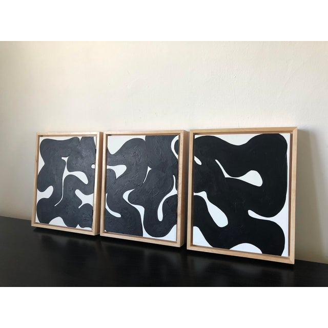Eternity Framed Abstract Triptych in Black and White For Sale - Image 4 of 6