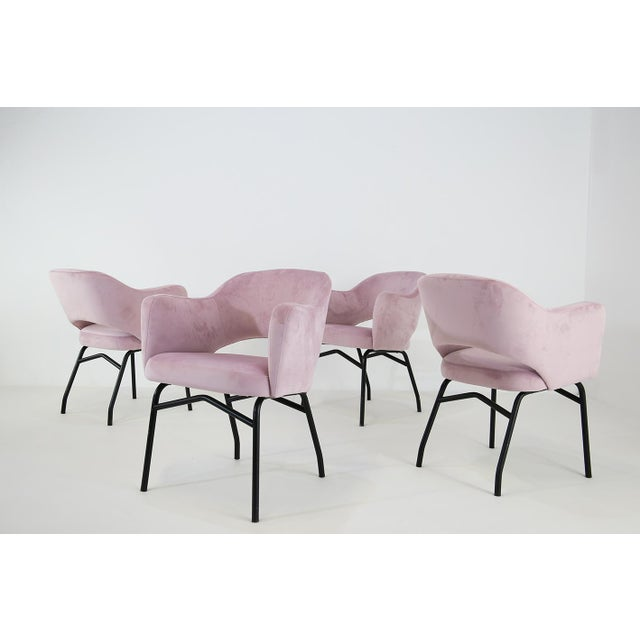 Pink 50s Italian Chairs Restored in Velvet For Sale - Image 8 of 8