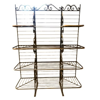 1960s Shabby Chic Black & Gold Bakers Rack