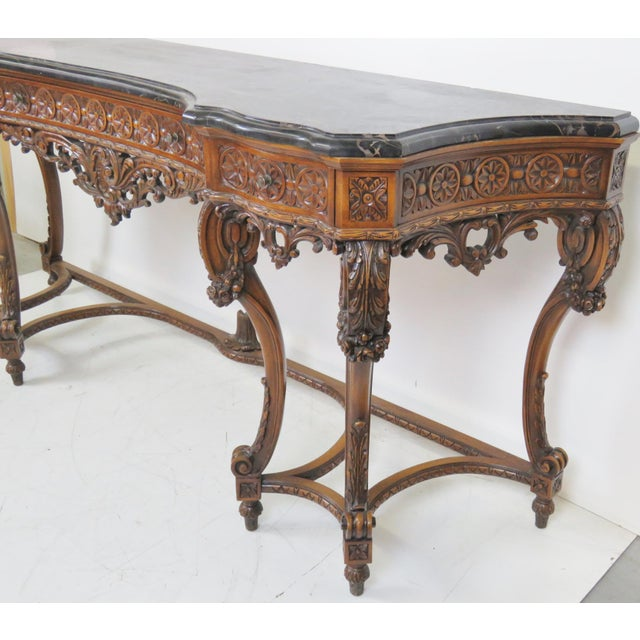 Marbletop Carved Mahogany Console - Image 7 of 8