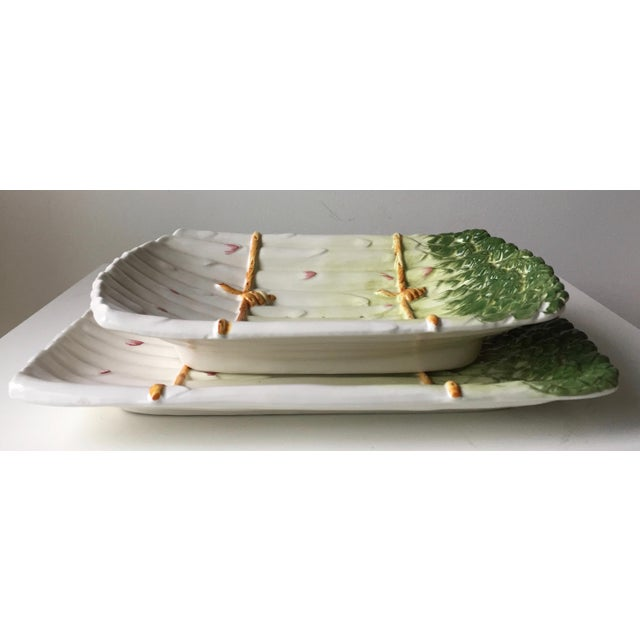 1990s Italian Faience Asparagus Dish & Platter For Sale - Image 5 of 13