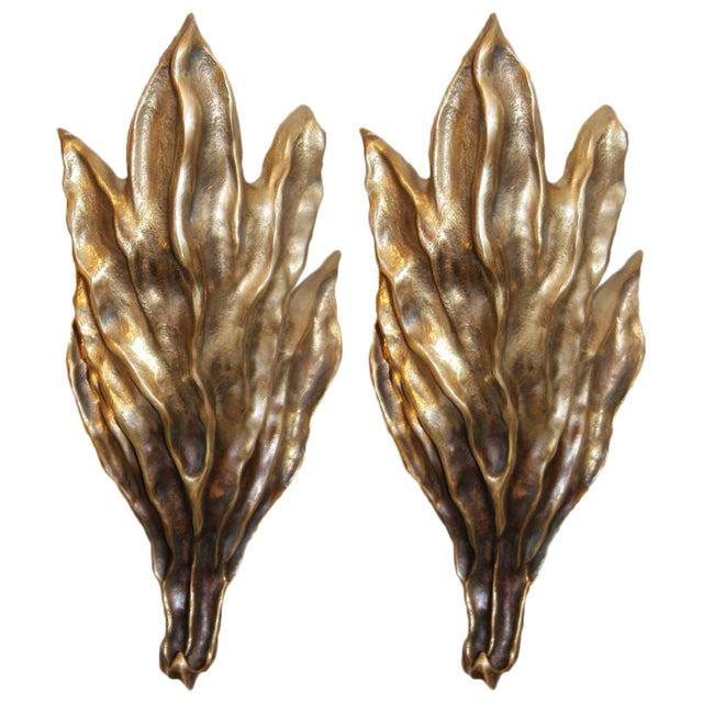 Pair of Signed Garouste & Bonetti Cast Bronze Sconces For Sale