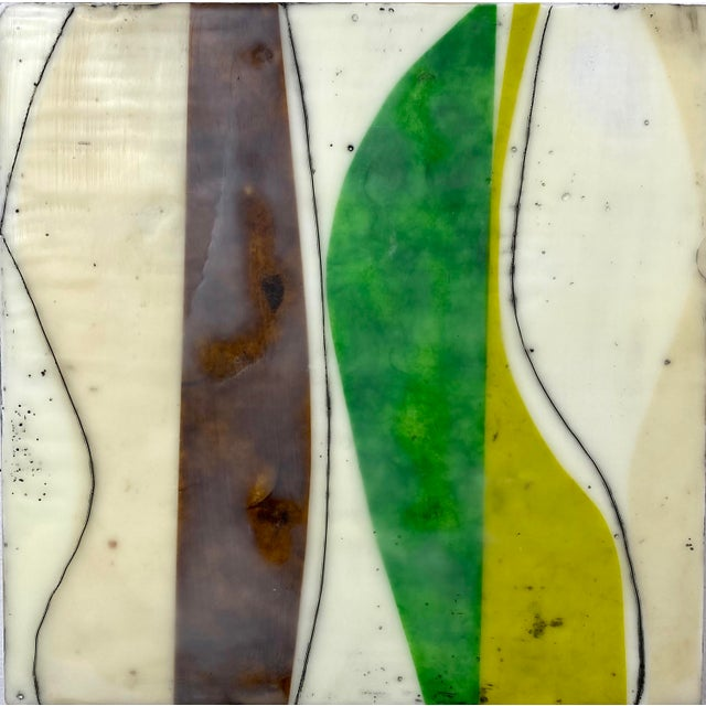 """Cream """"Bodies in Motion"""" Encaustic Collage by Gina Cochran - 16 Piece Installation For Sale - Image 8 of 13"""