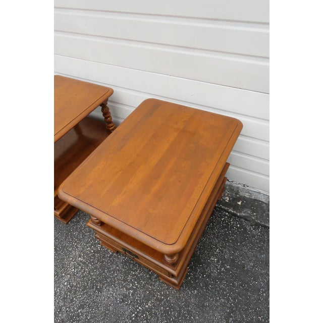 Wood Ethan Allen Solid Maple Pair of Nightstands Side End Tables For Sale - Image 7 of 13