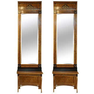 19th Century Russian Beechwood Mirrors With Consoles - a Pair For Sale