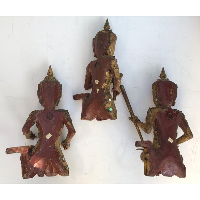 Giltwood Thai Figures of Siamese Musicians, Set of 3 For Sale In San Francisco - Image 6 of 7