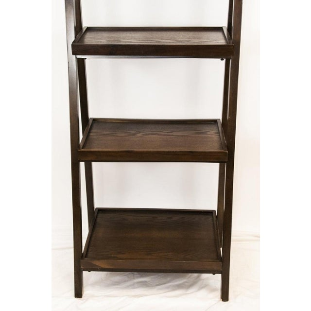 Contemporary Dark Wood Five-Tier Leaning Bookcase For Sale - Image 4 of 6