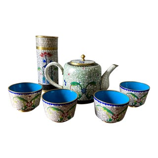 Vintage White Cloisonné Tea Set For Sale