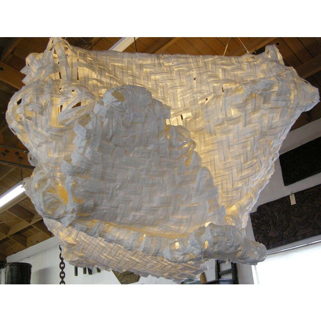 Gigantic Freeform Handwoven Paper Ceiling Light - Image 5 of 7