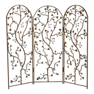 Gilt Metal Three Panel Floor Screen With Vine and Berry Motif