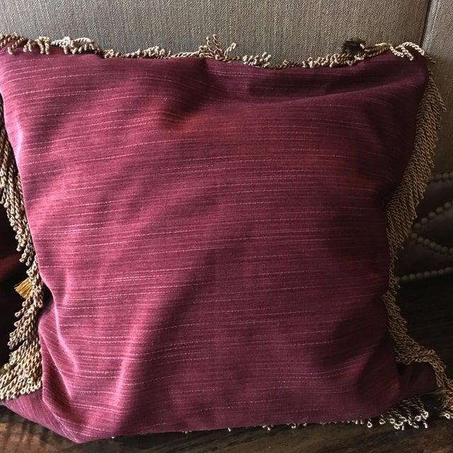 Blue Antique Velvet Burgundy & Gold Needlepoint Pillow For Sale - Image 8 of 10