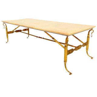 Arturo Pani Parchment & Brass Coffee Table For Sale