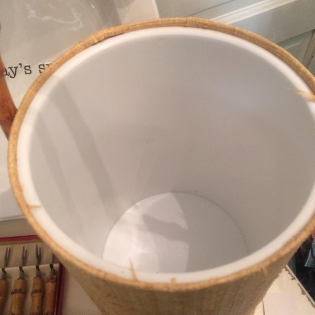 Rattan & Grass Cloth Ice Bucket For Sale - Image 9 of 9