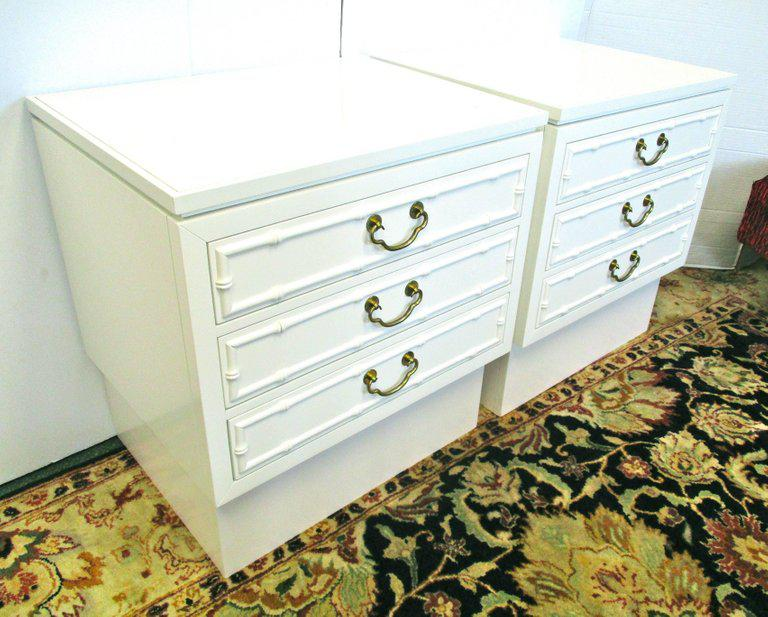 fitting kitchen cabinets high end pair of white lacquered ficks reed nightstands 3758