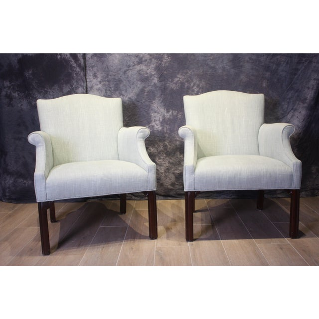 Late 20th Century Vintage Camel Back Club Chairs- a Pair For Sale - Image 9 of 9