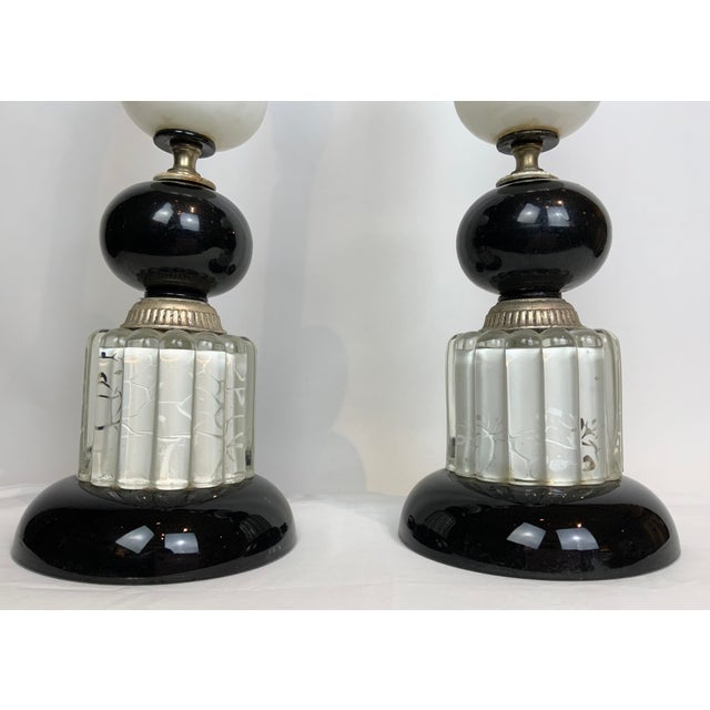 1940s Hollywood Regency Black & White Lamps - a Pair For Sale - Image 10 of 13