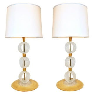 Italian 1970s Vintage Curved Pair of Brass & White Amber Gold Murano Glass Lamps For Sale