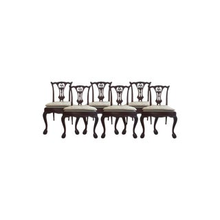Late 20th Century Vintage Chippendale Style Dining Chairs- Set of 6 For Sale