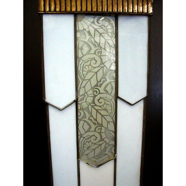 Large Art Deco Geometric Leaded Glass Chandelier with Scrolling Top - Image 4 of 4
