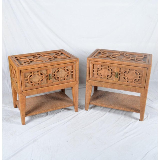 "Incredible, unique pair of vintage Lane Venture ""Excursions"" collection rattan side tables or nightstands. Intricately..."