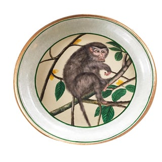 "Hand Painted Lg Tin Monkey Plate / Tray 20"" D For Sale"