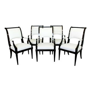 Contemporary Modern Baker Dining Armchairs Black Lacquer - Set of 5 For Sale
