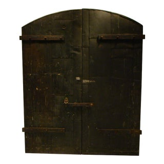 Industrial Wooden Factory Arch Top Doors - A Pair For Sale