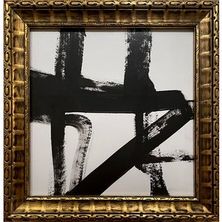Contemporary Abstract Black and White Mid-Century Inspired Framed Painting For Sale