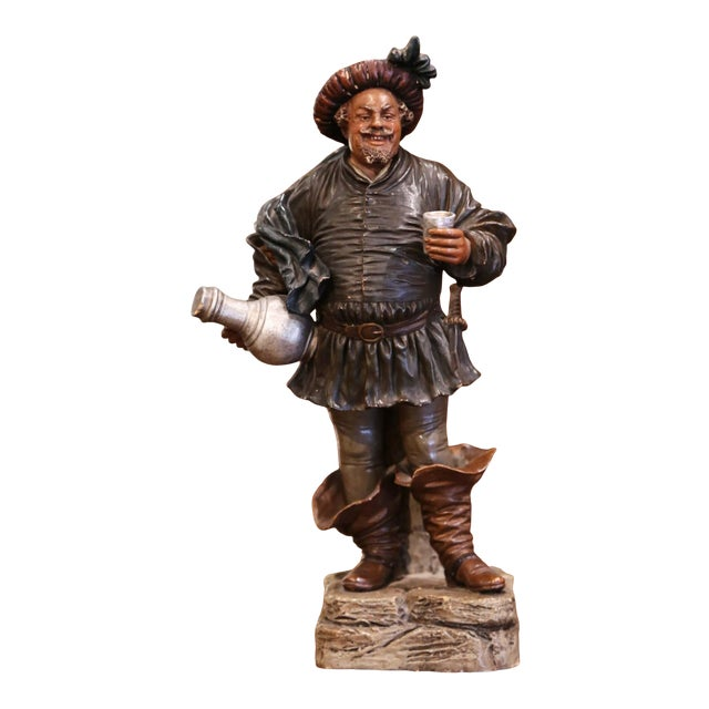 19th Century French Polychrome Terracotta Musketeer Beer Drinker Figurine For Sale