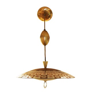 1960s Mid Century Modern Thomas Light Brass/Glass Atomic Pendant Hanging Light Fixture For Sale