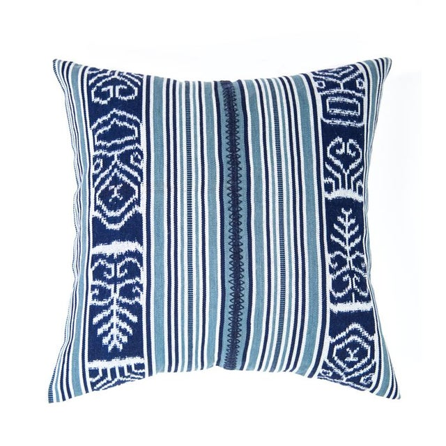 Guatemalan Indigo & Teal Ikat Pillow - Image 6 of 6