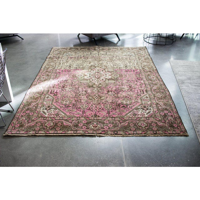"""Vintage Persian Area Rug - 6'5"""" x 9'3"""" - Image 2 of 11"""