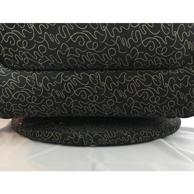 Postmodern Vintage Swivel Upholstered Bucket Chair For Sale In Chicago - Image 6 of 7