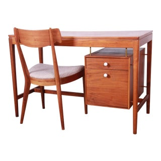 Kipp Stewart for Drexel Declaration Mid-Century Modern Walnut Desk and Chair For Sale