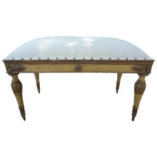 1920s Vintage Italian Neoclassical Style Velvet Upholstered Bench For Sale