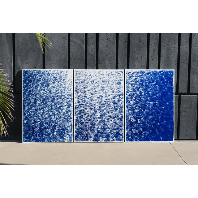 """Abstract Triptych """"The Cove"""" / Cyanotype Print on Watercolor Paper / Limited Edition / 100 X 210 CM For Sale - Image 3 of 12"""