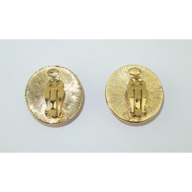 Kenneth Jay Lane Art Deco Faux Coral & Rhinestone Earrings For Sale In Atlanta - Image 6 of 9