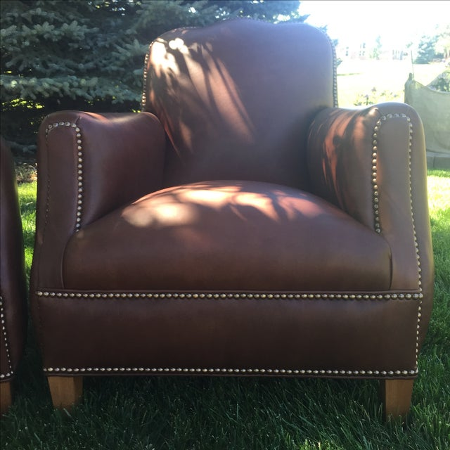Contemporary Distressed Leather Chairs - A Pair For Sale - Image 3 of 11